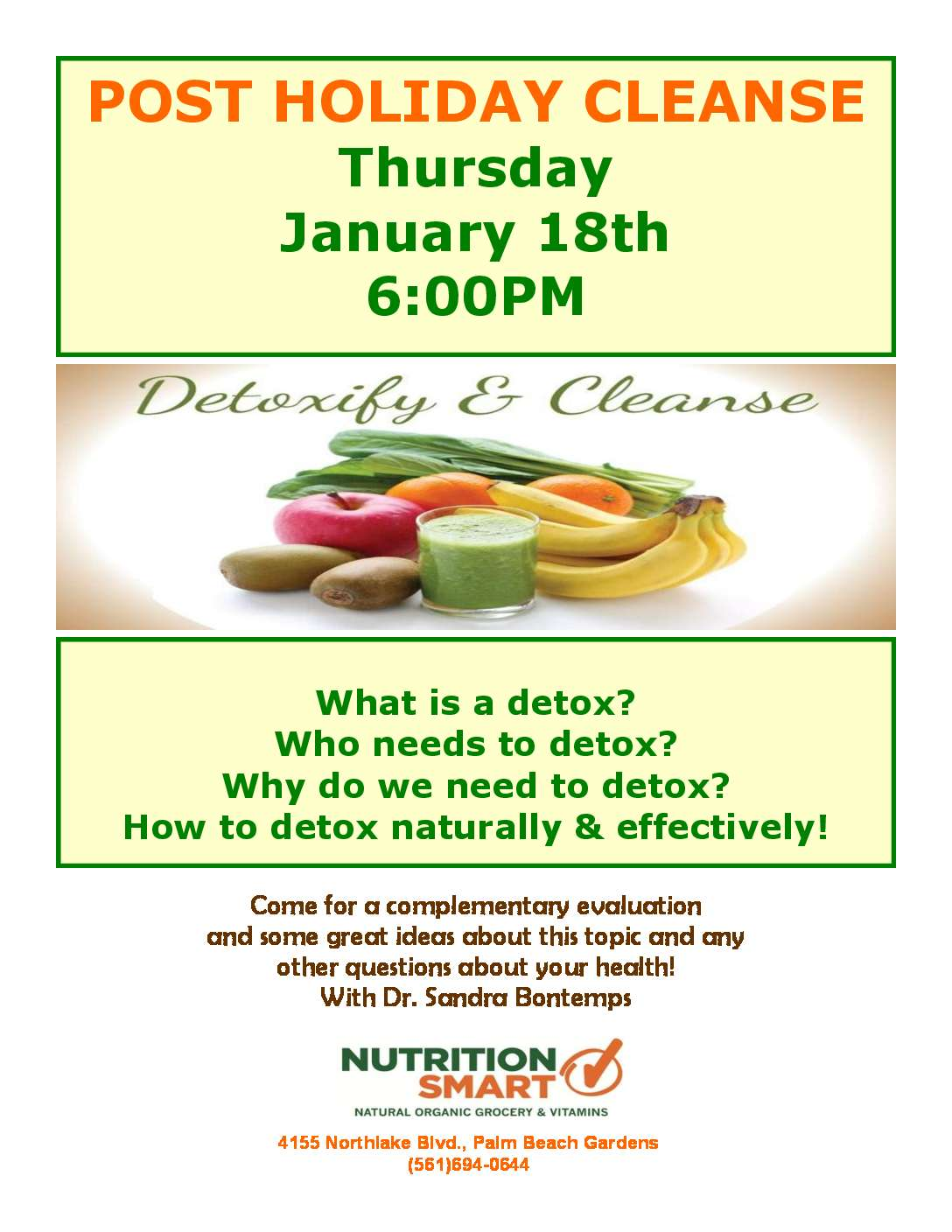 Post Holiday Cleanse with Dr. Sandra Bontemps - Nutritionsmart